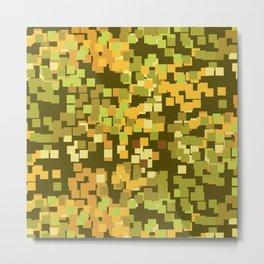 Geometric Squares Pattern in Trendy Faux Camo Design Metal Print