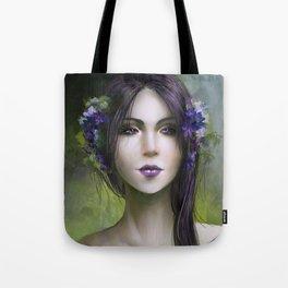 Viola - Girl with purple flowers in her hair Tote Bag