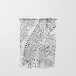 New York City White Map Wall Hanging