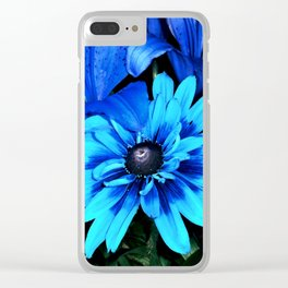 Electric Blue Flowers Clear iPhone Case