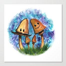 Brown Mushroom Family Canvas Print