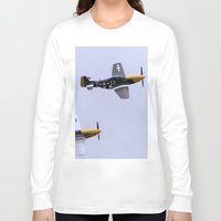 mustang Long Sleeve T-shirts featuring Mustang P51 Flight by Premium