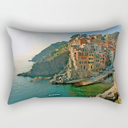 Italy. Cinque Terre - Canal side Rectangular Pillow