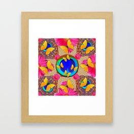 Fuchsia  Pink Yellow Butterflies Blue Patterns Framed Art Print