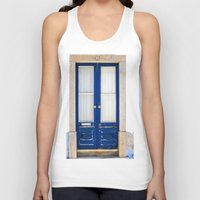 portugal Tank Tops featuring Door Ericeira Portugal blue by Sébastien BOUVIER