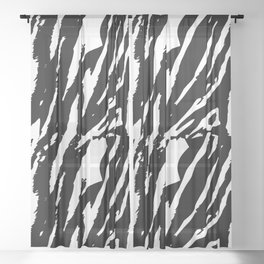 Tiger Black & White Sheer Curtain