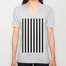 Narrow Vertical Stripes - White and Black Unisex V-Neck