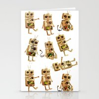 robots Stationery Cards featuring robots by Lara Paulussen