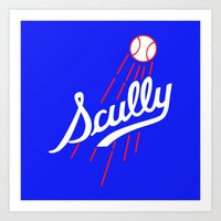 dodgers Art Prints featuring Vin Scully - Dodgers Logo Themed by Wear More Tees