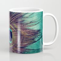 peacock feather Mugs featuring Peacock Feather by KunstFabrik_StaticMovement Manu Jobst