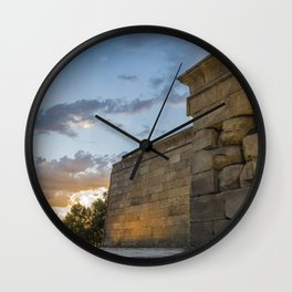 Sunset on egyptian Debod Temple in Madrid Wall Clock