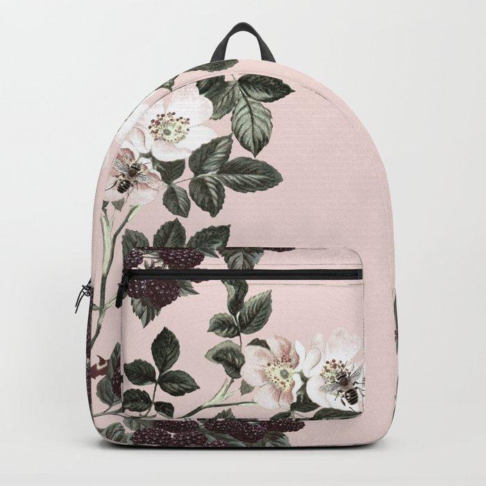Bees + Blackberries on Pale Pink Backpack
