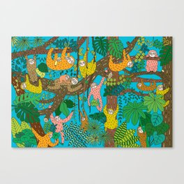 Happy Sloths Jungle Canvas Print