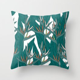 tropical strelitzia flowers leaf sketch, black contour pink coral yellow green. simple ornament Throw Pillow