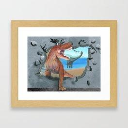 Prehistoric Dinosaur Tyrannosaurus Enters the 21st Century Framed Art Print