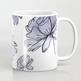 Hand Drawn Peonies Lilac Coffee Mug