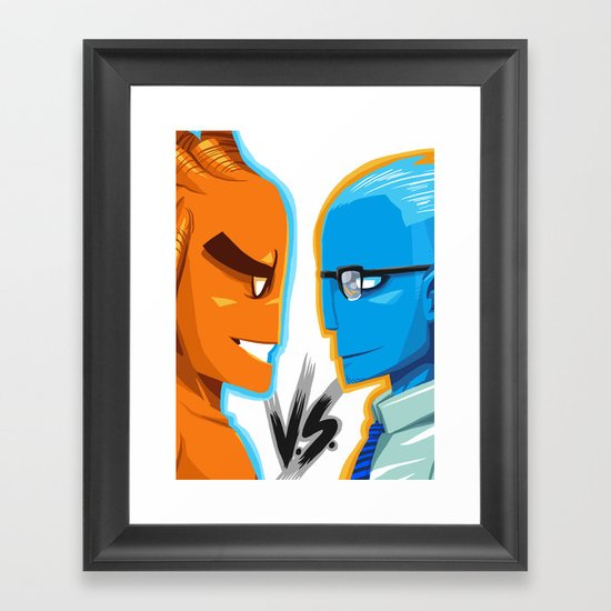 BLUE VS ORANGE Framed Art Print