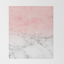 Modern blush pink watercolor ombre white marble Throw Blanket