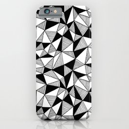 Abstract scandi pattern Polygon black and white design iPhone Case