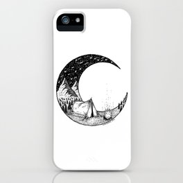Camping on the moon iPhone Case