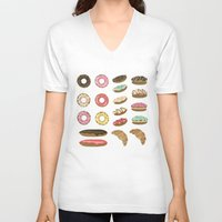 macaroons V-neck T-shirts featuring Pastry by Julia Badeeva
