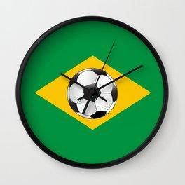 Brazil Football Flag Wall Clock