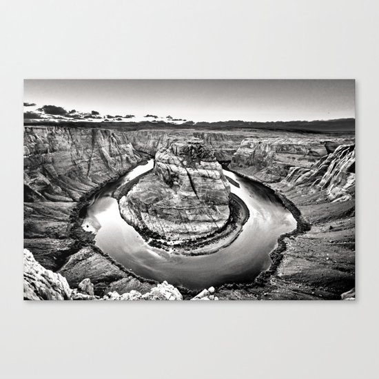 Horseshoe Bend Arizona Black and White Canvas Print