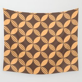 Mid Century Modern Geometric Flower Pattern Brown and Orange 2 Wall Tapestry