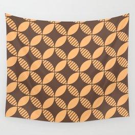 Mid Century Modern Geometric Flower Pattern Brown and Orange 2 Wall Tapestry