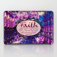 bible verse iPad Cases featuring FAITH Colorful Purple Christian Luke Bible Verse Inspiration Believe Floral Modern Typography Art by The Faithful Canvas