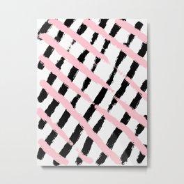 Pink and Black Sketch Checker Metal Print
