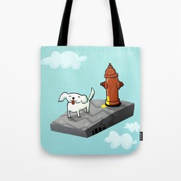 Dog in the sky peeing - Illustration Tote Bag