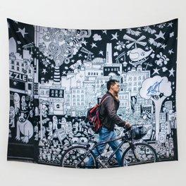 MAN - BIKE - STREET - ART - PHOTOGRAPHY Wall Tapestry