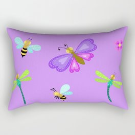 Butterflies, bees and dragonflies Rectangular Pillow