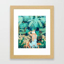 Backyard #illustration #painting Framed Art Print