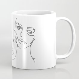 Minimalist Female Faces in One Line Contour Drawing Coffee Mug