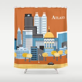 Atlanta, Georgia - Skyline Illustration by Loose Petals Shower Curtain