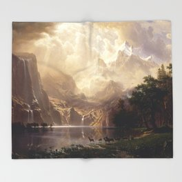 Albert Bierstadt - Among the Sierra Nevada, California Throw Blanket