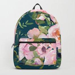 Floral Watercolor Rose Garden, Teal and Pink,  Vintage, Wall Art Boho Backpack