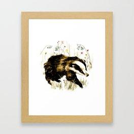 Bluebell Badger Framed Art Print