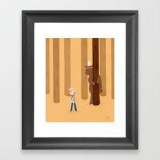 Bear and girl: playing Framed Art Print