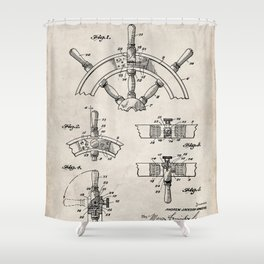 Ships Wheel Patent - Boat Wheel Art - Antique Shower Curtain
