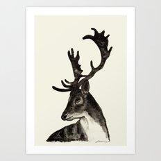 Deer Ink Art Print