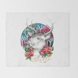 Christmas Reindeer / Deer Painting Drawing Throw Blanket