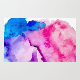 Modern pink blue abstract watercolor wash paint Rug