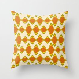 Retro Psychedelic Wavy Pattern in Orange, Yellow, Olive Throw Pillow
