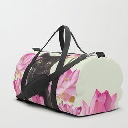 Lotus Flower Blossoms Black Cat Duffle Bag