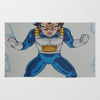 vegeta Area & Throw Rugs featuring Prince Vegeta by bmeow