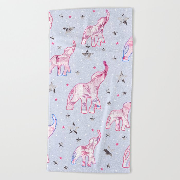 Cute Pastel Tone Elephants Stars Pattern Beach Towel