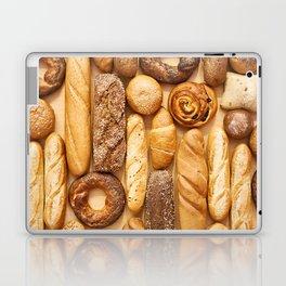 Bread baking rolls and croissants background Laptop & iPad Skin